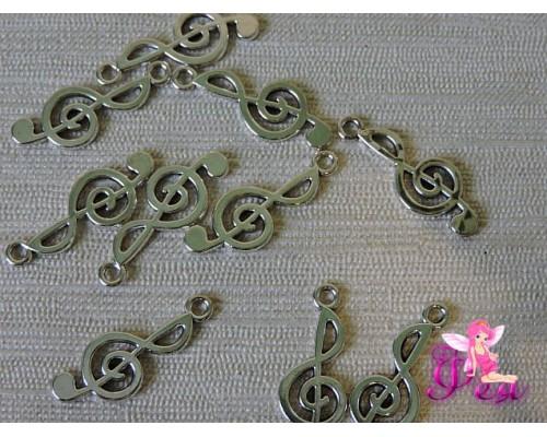 """Подвеска металлическая """"Скрипичный ключ"""" 25*10 мм, цв. серебро (1 шт)"""