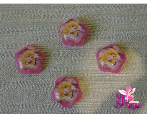 """Кабошон пластиковый 16 мм """"Принцесса"""", цв.розовый"""