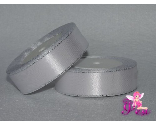 Лента атласная 25 мм,  с серебряным люрексом цв. белый - 1 м