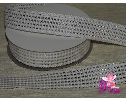 Декоративная лента 25 мм, белого цвета с золотистой вставкой