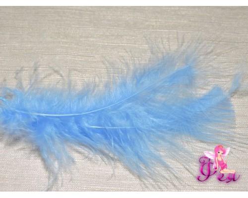 Перо декоративное 13,5см, цв. синий - 1шт