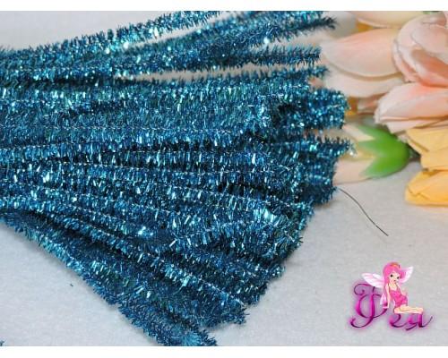 Проволока синельная металлик, цв. бирюзовый 1 шт