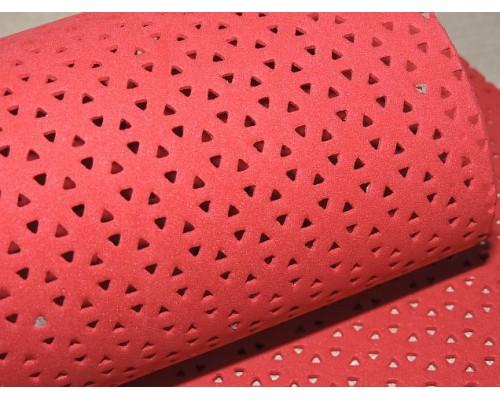 Фоамиран декоративный 2 мм (20*30 см),  в дырочки, цв. красный