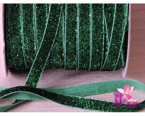 Бархатная лента 1см  с люрексом, цв. зеленый