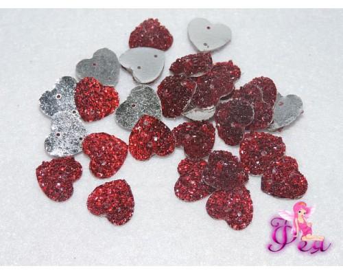 Стразы пришивные (Сердце блестящее) 12 мм, красный