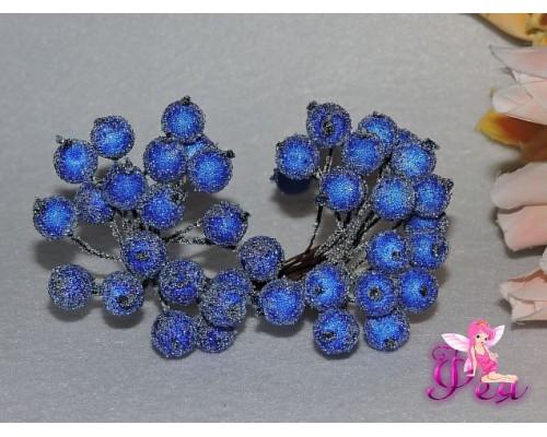 Ягодки на веточке сахарные 10 мм, цв. синие ( 12 ягод)