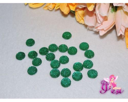 Стразовые серединки пластик зеленого цвета  12мм