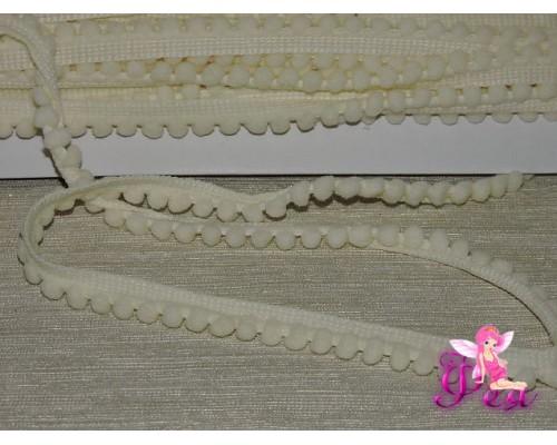 Тесьма с маленькими помпонами, цв. кремовый №02 - 1 м