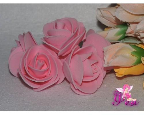 Роза из фоамирана 6 см, цв. розовый