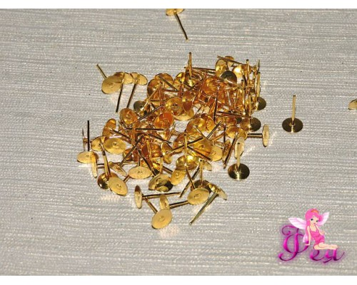 Пусет металл 0,6*1,2 мм  цв. золото (пара 2 шт)