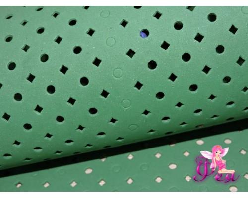 Фоамиран декоративный 2 мм (20*30 см),  в дырочки, цв.  зеленый