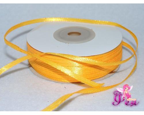 Лента атласная 3 мм, желтый № 17 (отрез 5 м)