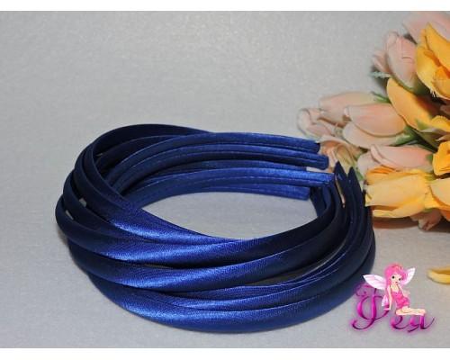 Ободок пластиковый в ткани 1 см, цв. синий