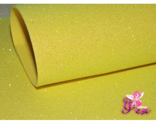 Фоамиран глиттерный, перламутровый 2мм (20*30см), цв. лимонный