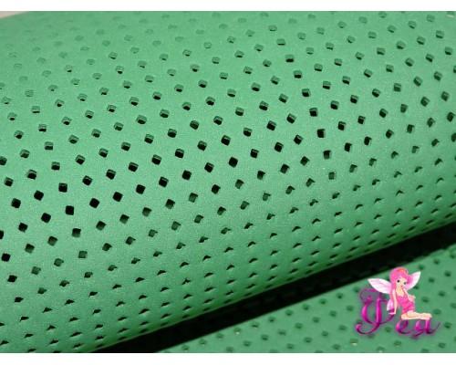 Фоамиран декоративный 2 мм (20*30 см), в дырочки-ромбики, цв. зеленый -1 лист.