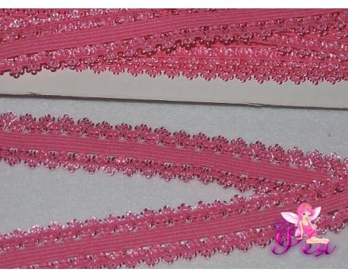 Тесьма-резинка с кружевом 2см, розовый - 1м.