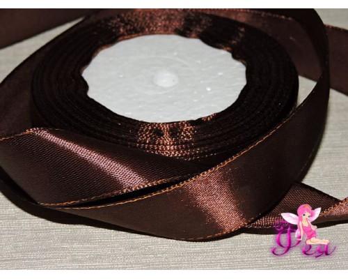 Атласная лента 25 мм,с золотым люрексом темно-коричневого цвета.