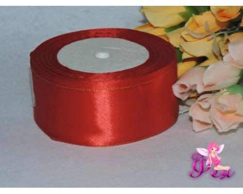 Атласная лента с люрексом 40мм красного цвета