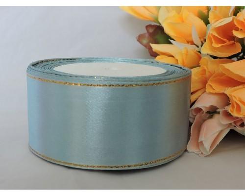 Лента атласная с люрексом, 40 мм, цв. грязно-голубой