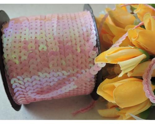 Пайетки на нитке 6мм, цв. розовый 1 м