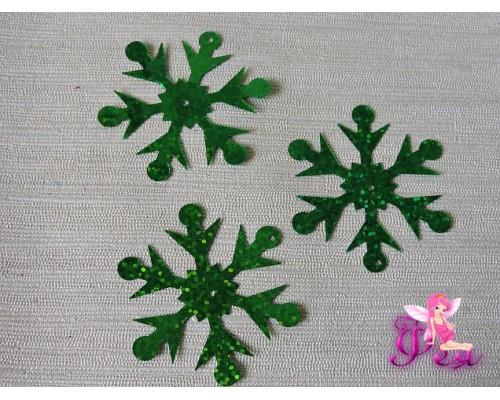 """Пайетки """"Снежинки крупные"""" 65 мм, зеленый ( уп 10 шт)"""