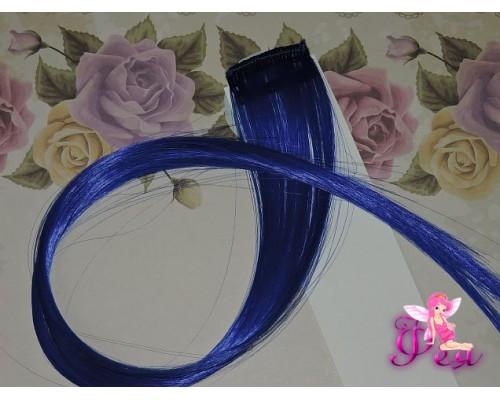 Цветная прядь, 50 см, цв. синий - 1 шт.