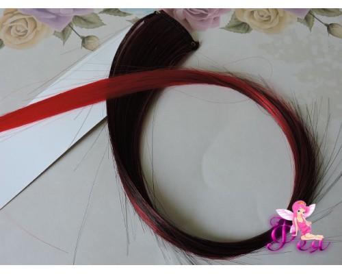 Цветная прядь градиент, 50 см, цв. черный-красный - 1 шт.