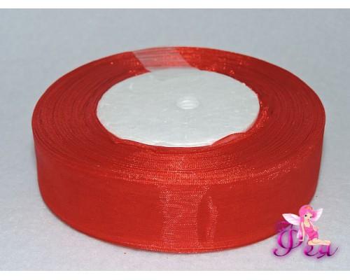 Лента органза 25 мм, цв. красный -1 м