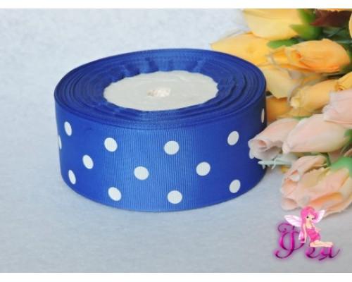 """Репсовая лента 40 мм ярко-синего цвета с рисунком """"Крупный белый горох"""""""