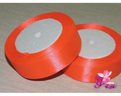 Атласная лента 25 мм, цв. ярко-морковный - 1 м