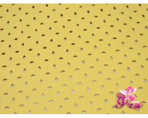 Фоамиран декоративный 2 мм (20*30 см), в дырочки, цв. желтый -1 лист.