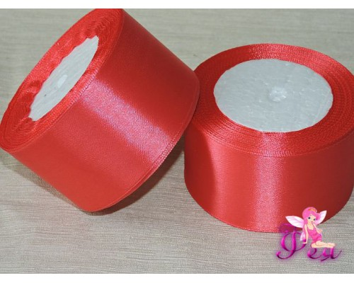 Однотонная атласная лента 50 мм, цв. розовый -1м