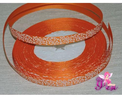 """Репсовая лента 10мм,  оранжевого цвета  с рисунком """"Белый расписной узор"""""""