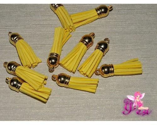 Декоративная кисточка замшевая 3,8 см, желтый -1 шт