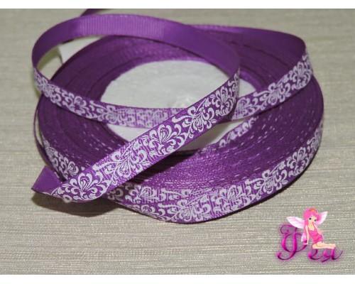 """Репсовая лента 10мм,  фиолетового цвета  с рисунком """"Белый расписной узор"""""""