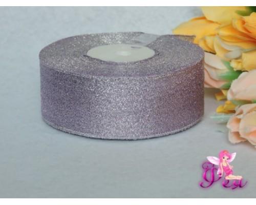 Парча 35мм, цв. фиолетовый-серебро