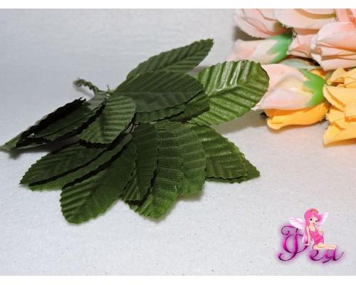 Листья тканевые на проволоке, (размер листа 5*3 см, длина проволоки-6 см), зеленого  цвета (  5 шт)