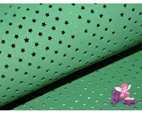Фоамиран декоративный 2 мм (20*30 см), в  звездочки, цв. зеленый  - 1 лист