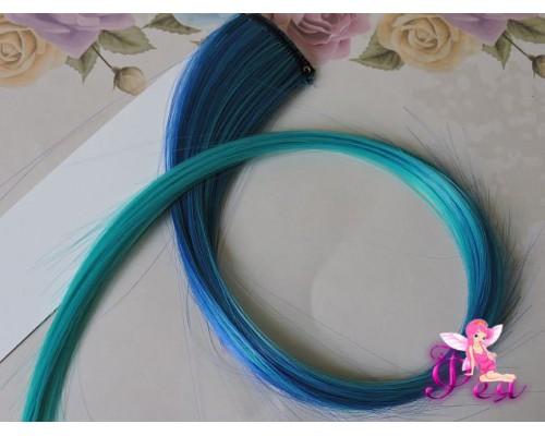 Цветная прядь градиент, 50 см, цв. синий-зеленый - 1 шт.