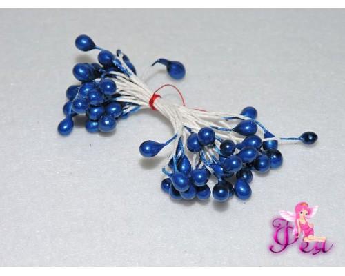 Тычинки большие 6 мм ,в одной связке 30 шт ( 60 головок), синие