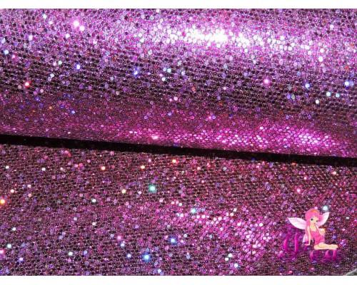 """Искусственная кожа """"Сетка-зеркальные блестки"""" 0.5 мм, цв.  фиолетовый"""