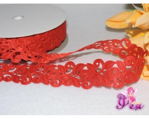 Декоративная лента 25мм, цв. красный