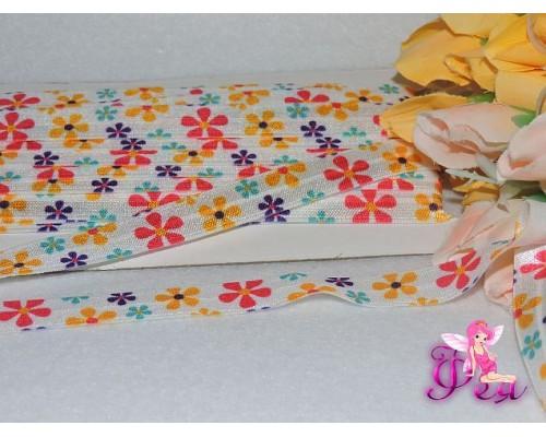 Тесьма эластичная 15 мм с рисунком «Цветочки разноцветные» (отрез 70 см)