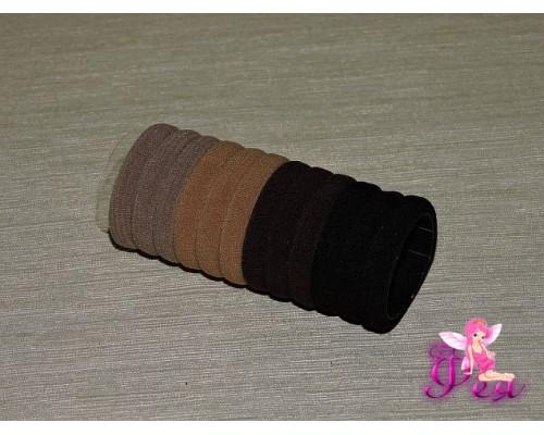 Бесшовные резинки для волос 4 см, цв. микс коричневый, в тубе 12 шт