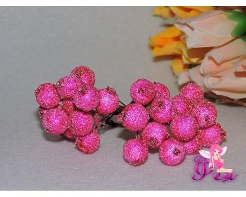 """Ягода """"в сахаре"""",цвет фуксия, 10мм, одна связка 12 ягод."""