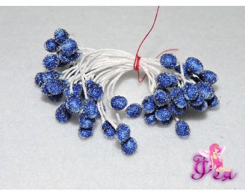 Тычинки засахаренные 5 мм, в одной связке 30 шт (60 головок), синий