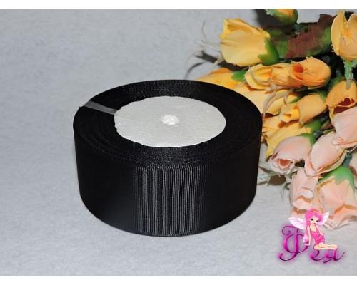 Репсовая однотонная лента 40 мм черного цвета -1 м