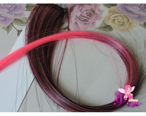 Цветная прядь градиент, 50 см, цв. черный-розовый - 1 шт.