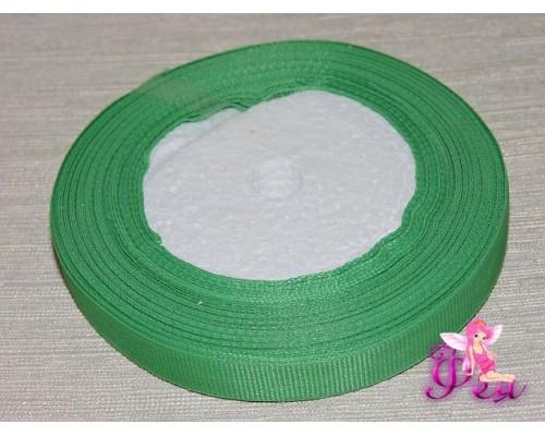 Репсовая лента 12 мм, зеленого цвета.