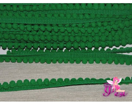 Тесьма с маленькими помпонами, цв. зеленый №19 - 1 м